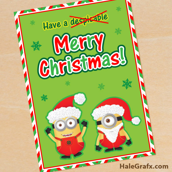 FREE Printable Despicable Me Christmas Minion Greeting Card