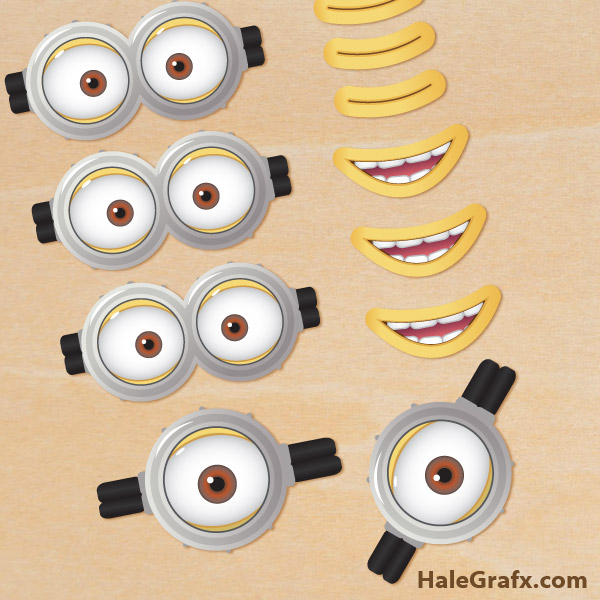Printable Despicable Me 2 Minion Goggles and Mouths