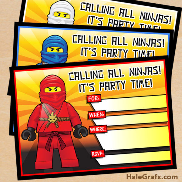 graphic relating to Lego Birthday Invitations Printable identified as No cost Printable LEGO Ninjago Birthday Invitation fastened