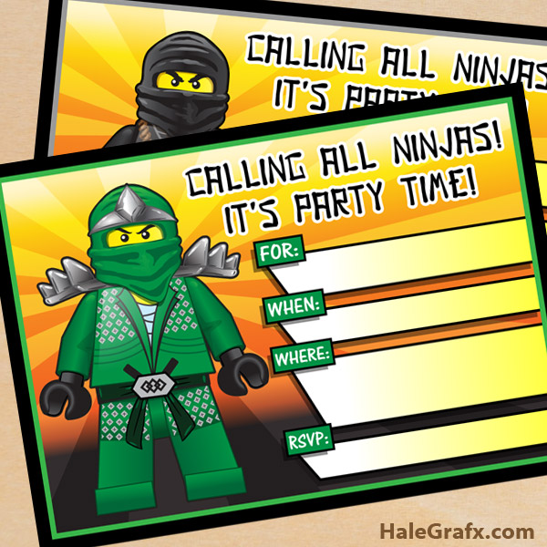PDF LEGO Ninjago Printable Invitations – Easy Type and Print Option!
