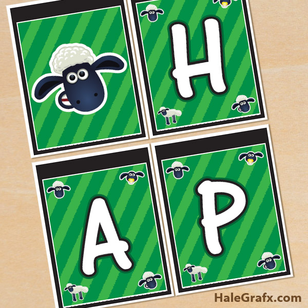 FREE Printable Shaun the Sheep Birthday Banner