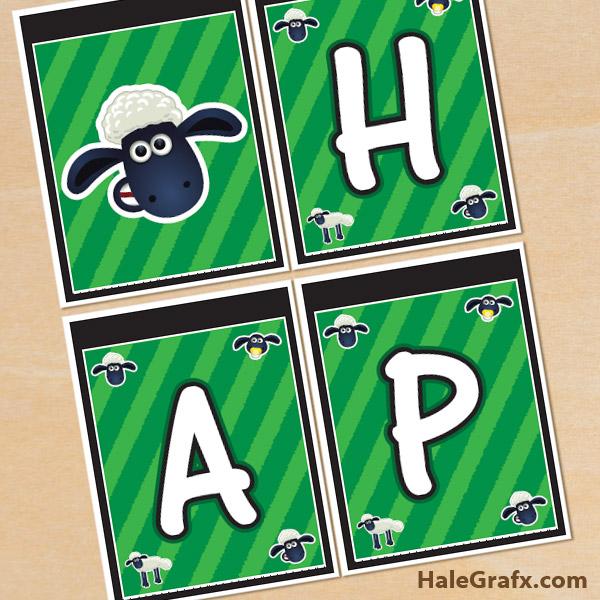 FREE Printable Shaun the Sheep Birthday Banner
