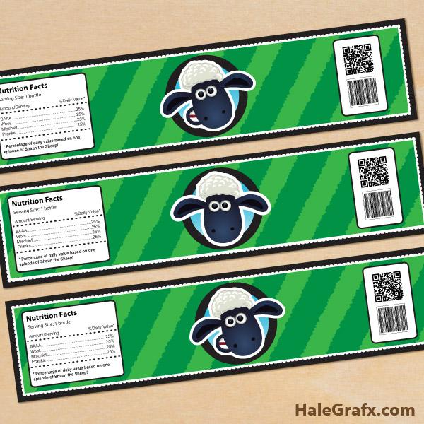 FREE Printable Shaun the Sheep Water Bottle Labels