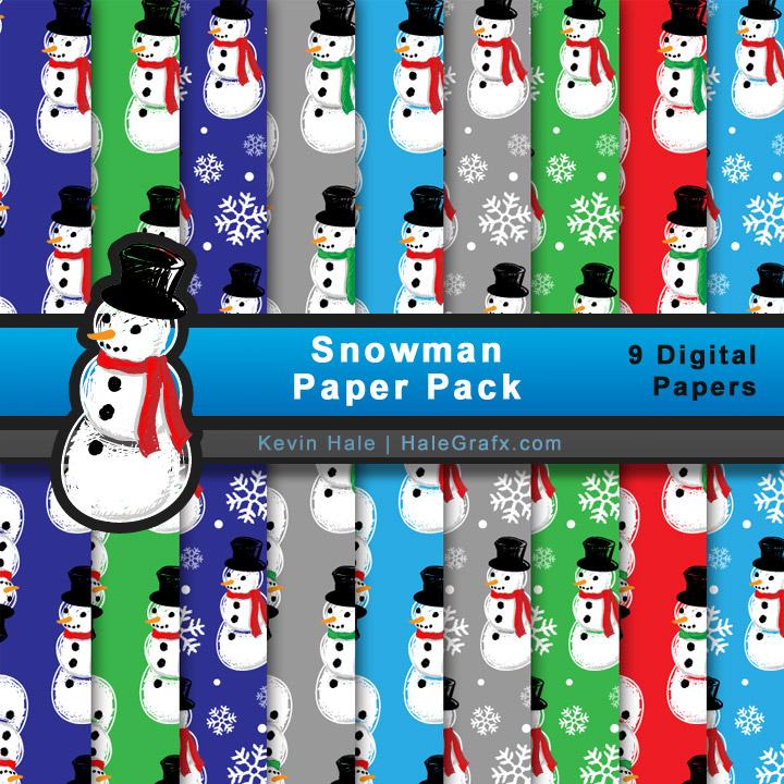 FREE Christmas Snowman Digital Paper Pack
