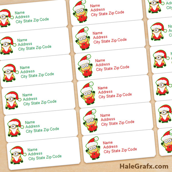 Free printable christmas minions address labels for Printable christmas address labels