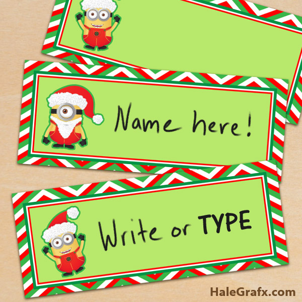 FREE Printable Despicable Me Minion Christmas Place Cards