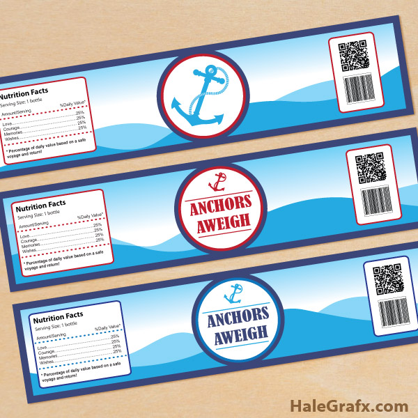FREE Printable Anchors Aweigh Water Bottle Labels