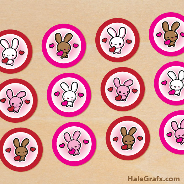 FREE Printable Valentines's Day Bunny Cupcake Toppers