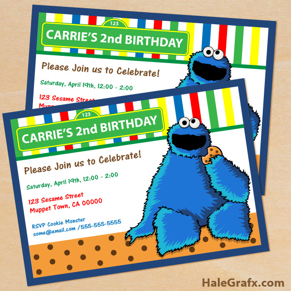 FREE Printable Cookie Monster Birthday Invitation