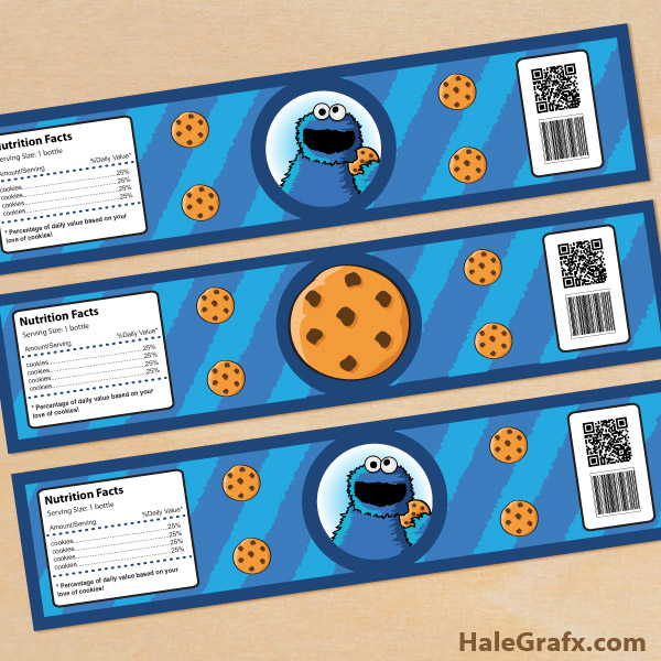 FREE Printable Cookie Monster Water Bottle Labels