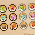 FREE Printable Kawaii Dinosaur Cupcake Toppers
