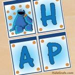 FREE Printable Cookie Monster Birthday Banner