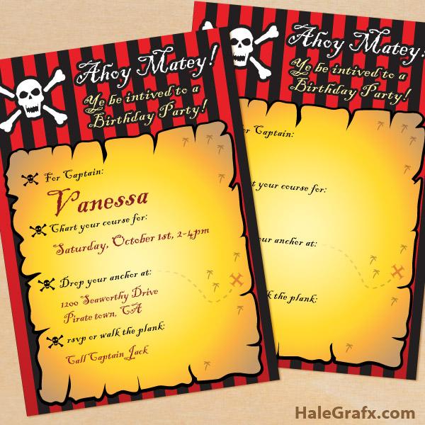 FREE Printable Pirate Birthday Invitation