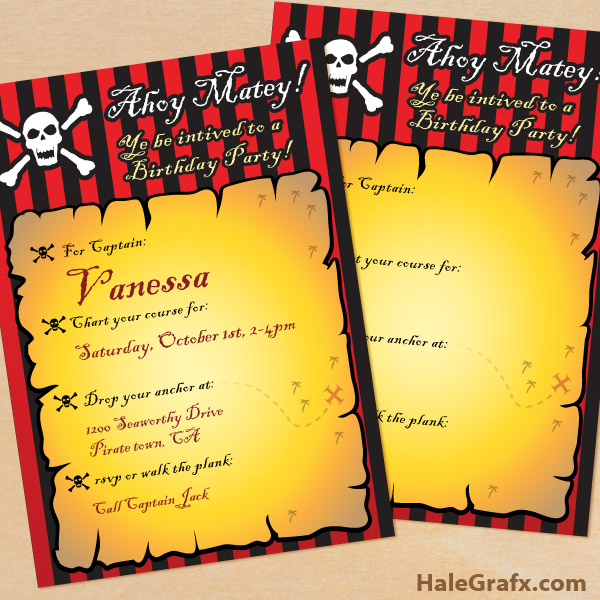Printable Pirate Birthday Invitation – Free Printable Pirate Birthday Party Invitations