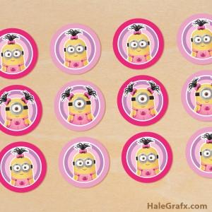 Free printable girl minion cupcake toppers