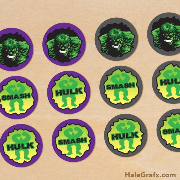 FREE Printable Incredible Hulk Cupcake Toppers