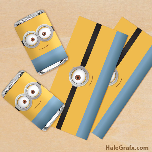 Free printable minion mini candy bar wrappers for Free mini candy bar wrapper template