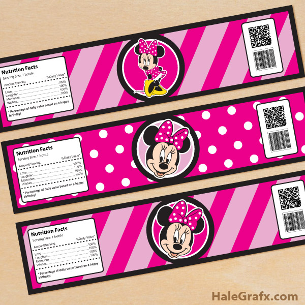 Fantastic FREE Printable Minnie Mouse Water Bottle Labels NZ13