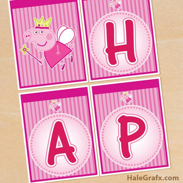 FREE Printable Peppa Pig Birthday Banner