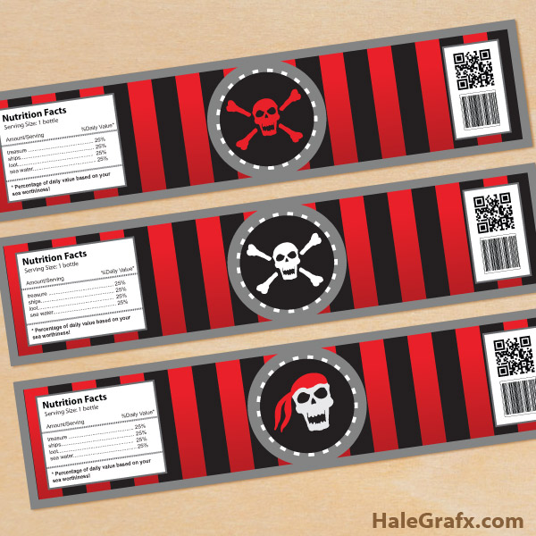 FREE Printable Pirate Water Bottle Labels