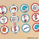 FREE Printable Cat in the Hat Cupcake Toppers