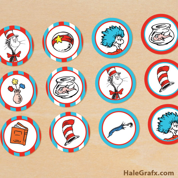 graphic regarding Printable Cat in the Hat identify Free of charge Printable Cat within just the Hat Cupcake Toppers