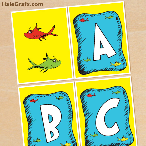 image about Free Printable Alphabet Letters for Banners known as Totally free Printable Dr. Seuss Fish Alphabet Banner Pack