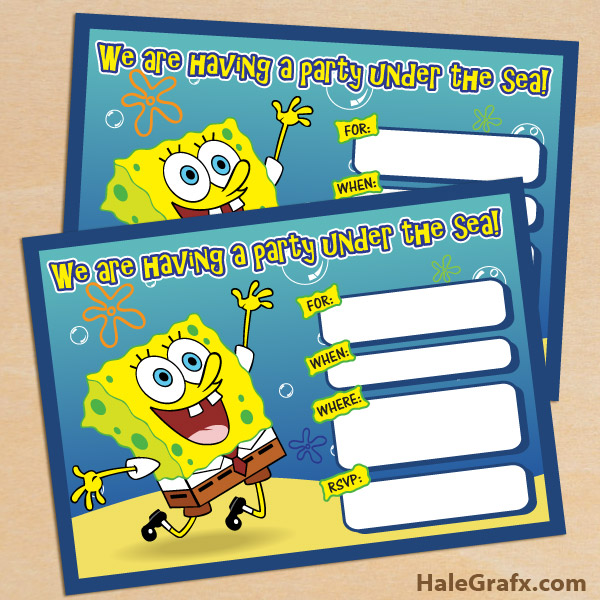 FREE Printable Spongebob Squarepants Birthday Invitation