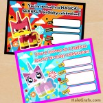 FREE Printable LEGO Movie Unikitty Birthday Invitation Set