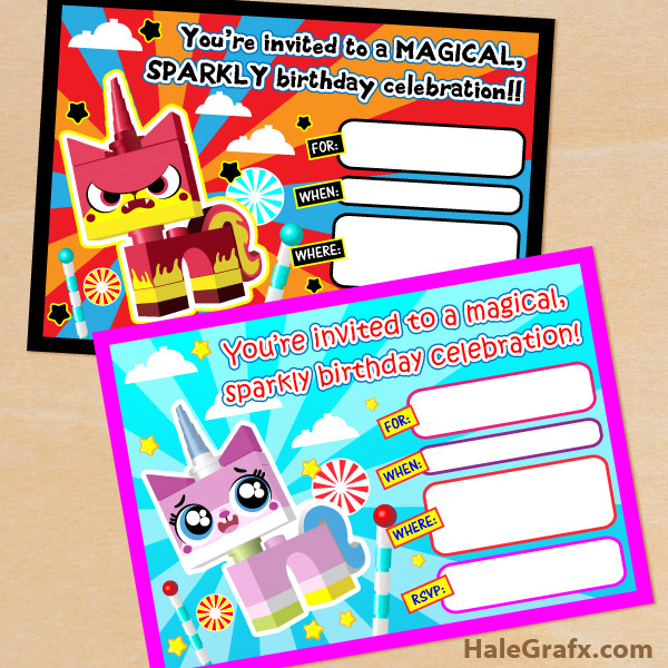 graphic relating to Lego Birthday Card Printable named Totally free Printable LEGO Video Unikitty Birthday Invitation Mounted