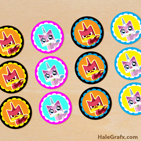 FREE Printable LEGO Movie Unikitty Cupcake Toppers