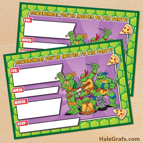 Gorgeous image inside ninja turtles birthday invitations printable
