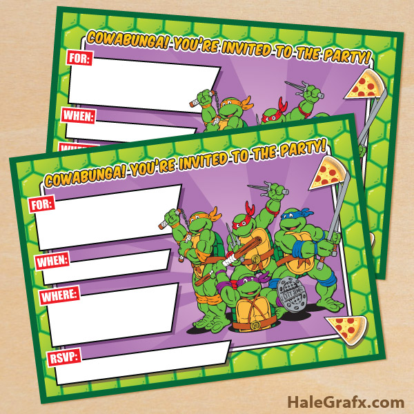 printable retro tmnt ninja turtle birthday invitation,