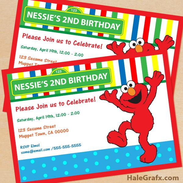 FREE Printable Sesame Street Elmo Birthday Invitation