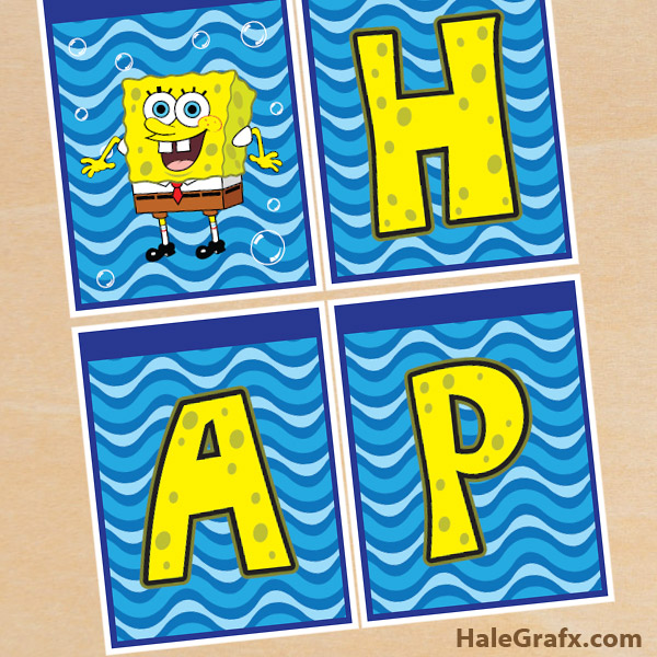 FREE Printable Spongebob Squarepants Birthday Banner