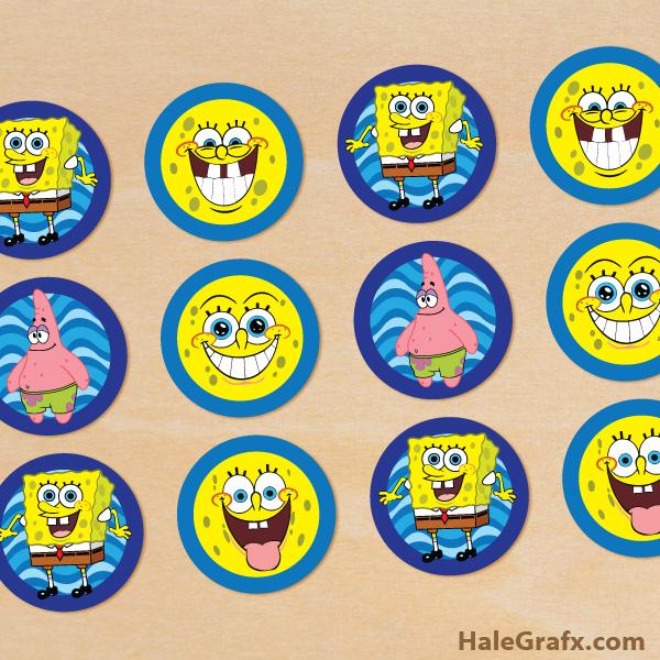 Free Printable Spongebob Squarepants Cupcake Toppers