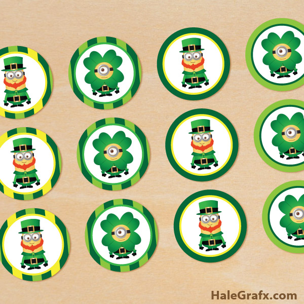 FREE Printable Despicable Me St. Patrick's Day Cupcake Toppers