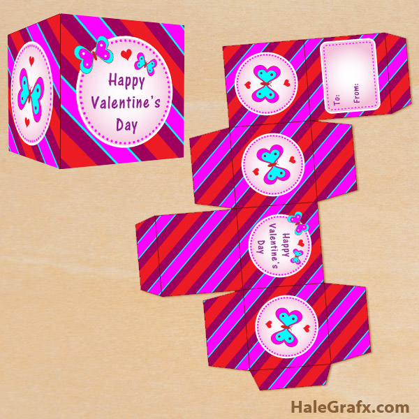 FREE Printable Valentines Day Butterfly Treat Box