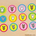FREE Printable Kawaii Easter Bunny Cupcake Toppers