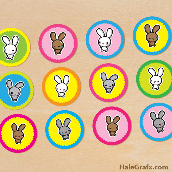 FREE Printable Kawaii Easter Bunnies Cupcake Toppers