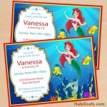 FREE Printable Disney Little Mermaid Birthday Invitation