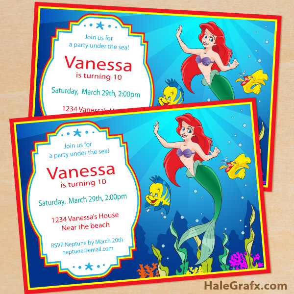 image about Mermaid Birthday Invitations Free Printable identified as Cost-free Printable Disney Tiny Mermaid Birthday Invitation