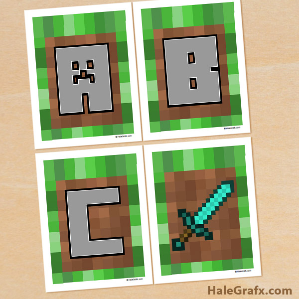 graphic relating to Minecraft Printable Pictures known as No cost Printable Minecraft Alphabet Banner