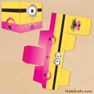 Free printable girl minion treat boxes