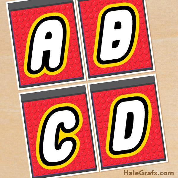FREE Printable LEGO Building Block Alphabet Banner