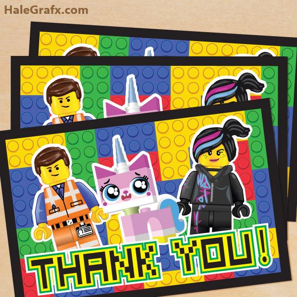 FREE Printable LEGO Movie Thank You Card