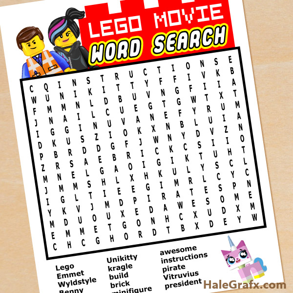 Lego movie word search free printable lego movie word search