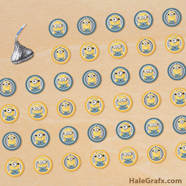 picture relating to Minion Symbol Printable identified as Absolutely free Printable Minion Hersheys Kisses Stickers