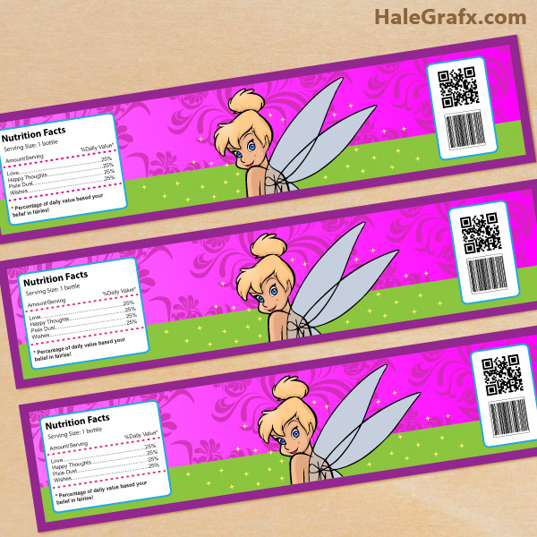 FREE Printable Disney Tinkerbell Water Bottle Labels