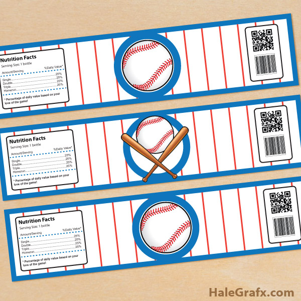 Printable Baseball Water Bottle Labels